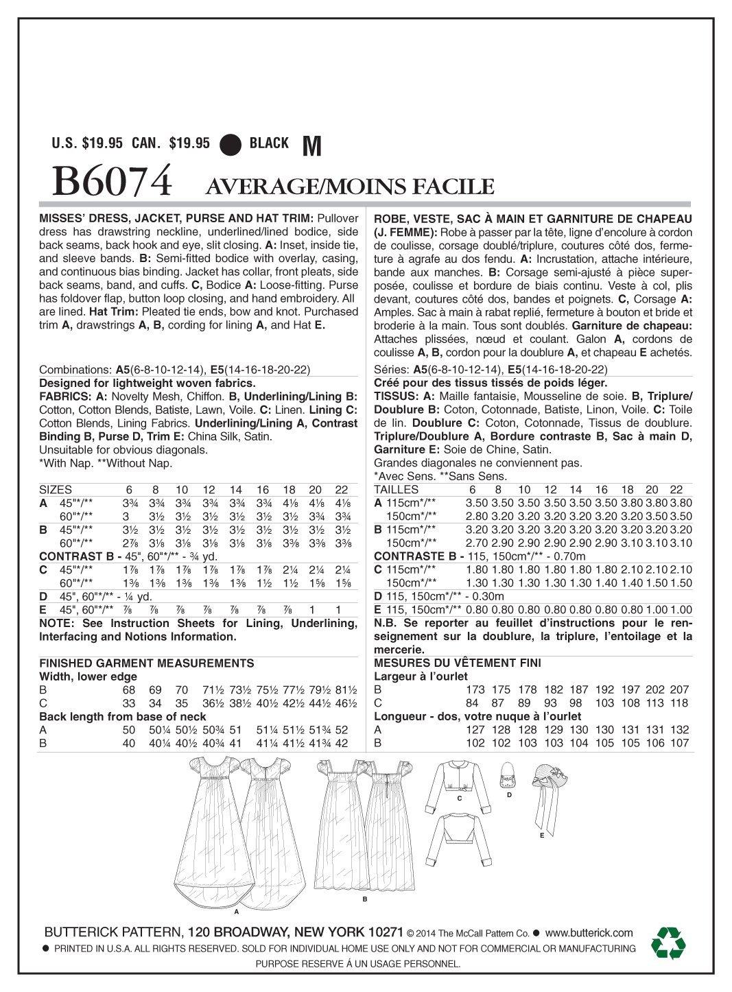 Butterick Patterns 6074A5 - Libro de patrones de costura (vestidos ...