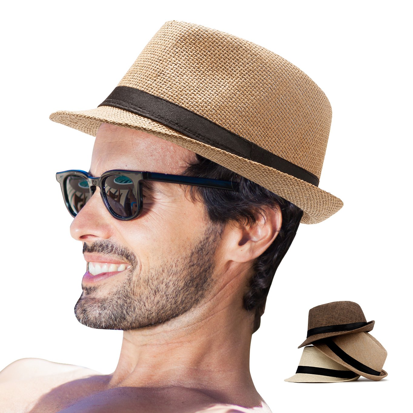 Amazon.com  Fedora Hat Mens Fedora Hats for Men Trilby Hat Straw Sun Hat  Panama Hat for Men (Pack of 3(Beige 983571df6ec