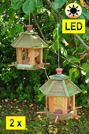 2 x casitas para pájaros Pajarera, Pajarera Comedero, con iluminación Jardín – Con Led De Luz, romantischer