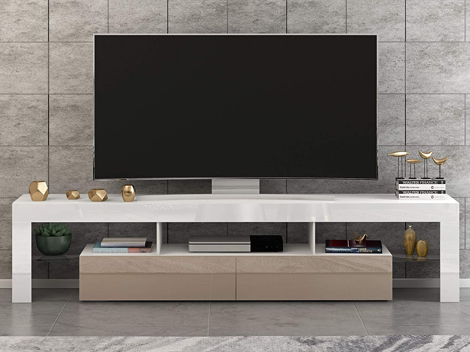 Panana Front RGB LED TV Stand Cabinet Unit Modern 160cm TV Desk with Storage for Entertainment Living Room Black