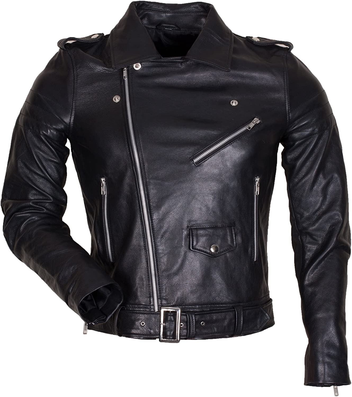 Classic Designer Terminator Style Brando Biker Mens Black Leather Jacket