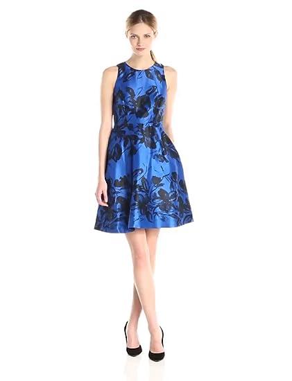 Amazon Donna Morgan Womens Fit And Flare Printed Dress Royal