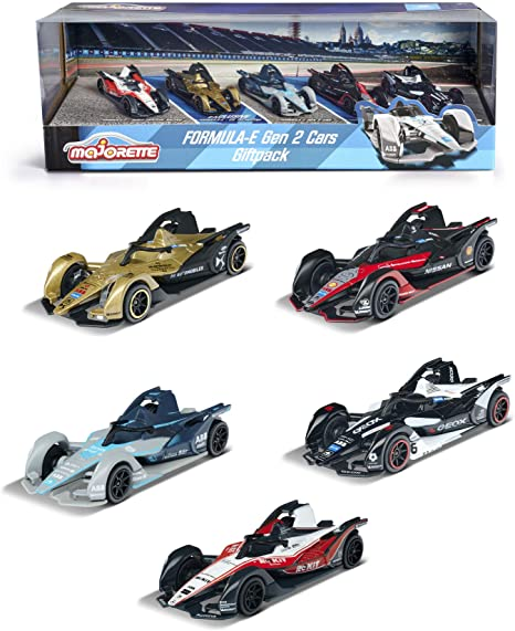 Majorette 212084026 Formula-E Gen Gift 5 Racing Toy Set Sports Rubber Tyres 2 Exclusive Cars 1:64 Scale 7.5 cm from 3 Years