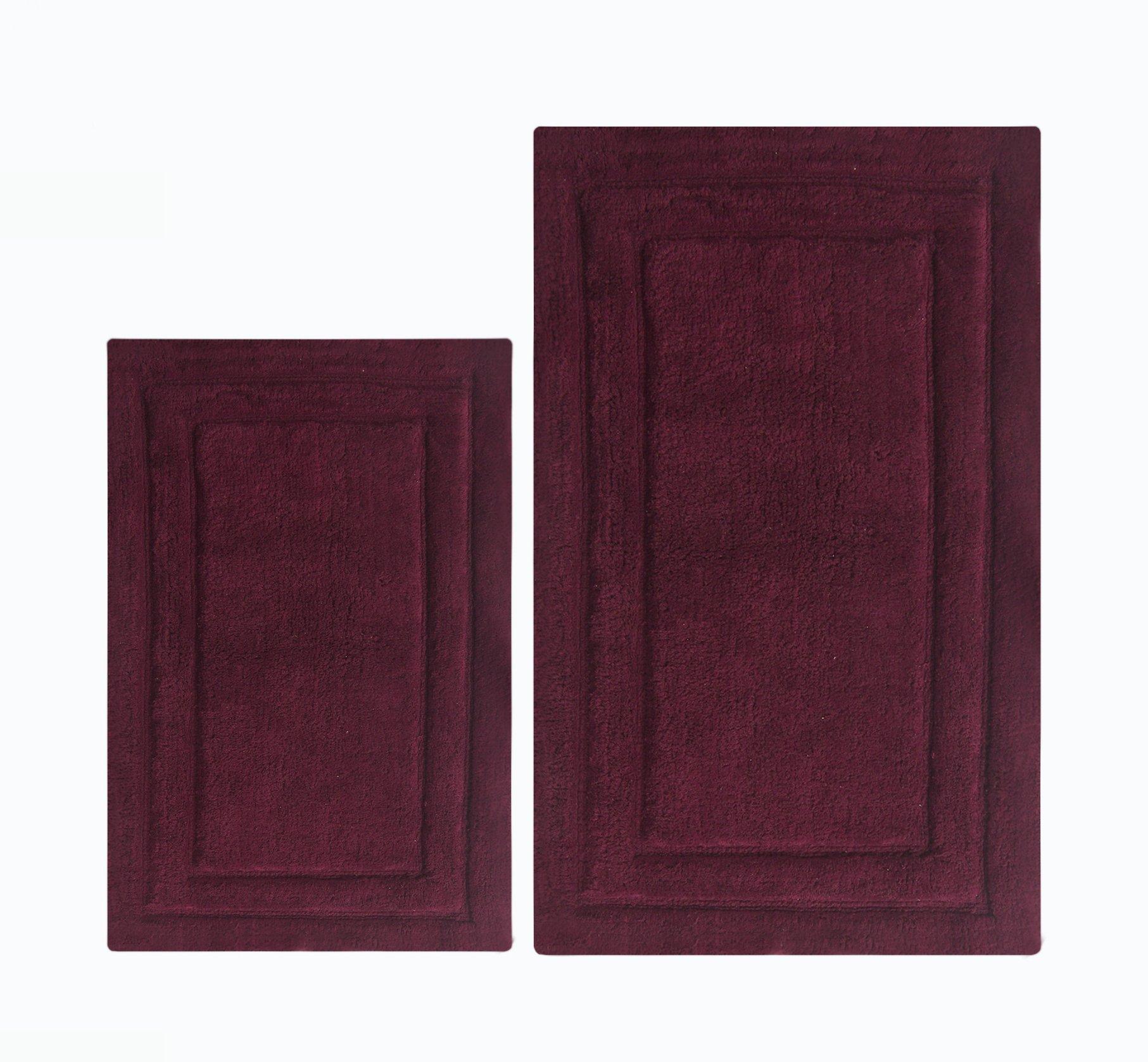 Chardin home - 100% Cotton two Piece Classic Bath Rug Set, (24''x40'' & 21''x34'') with anti-skid spray latex back, Burgundy