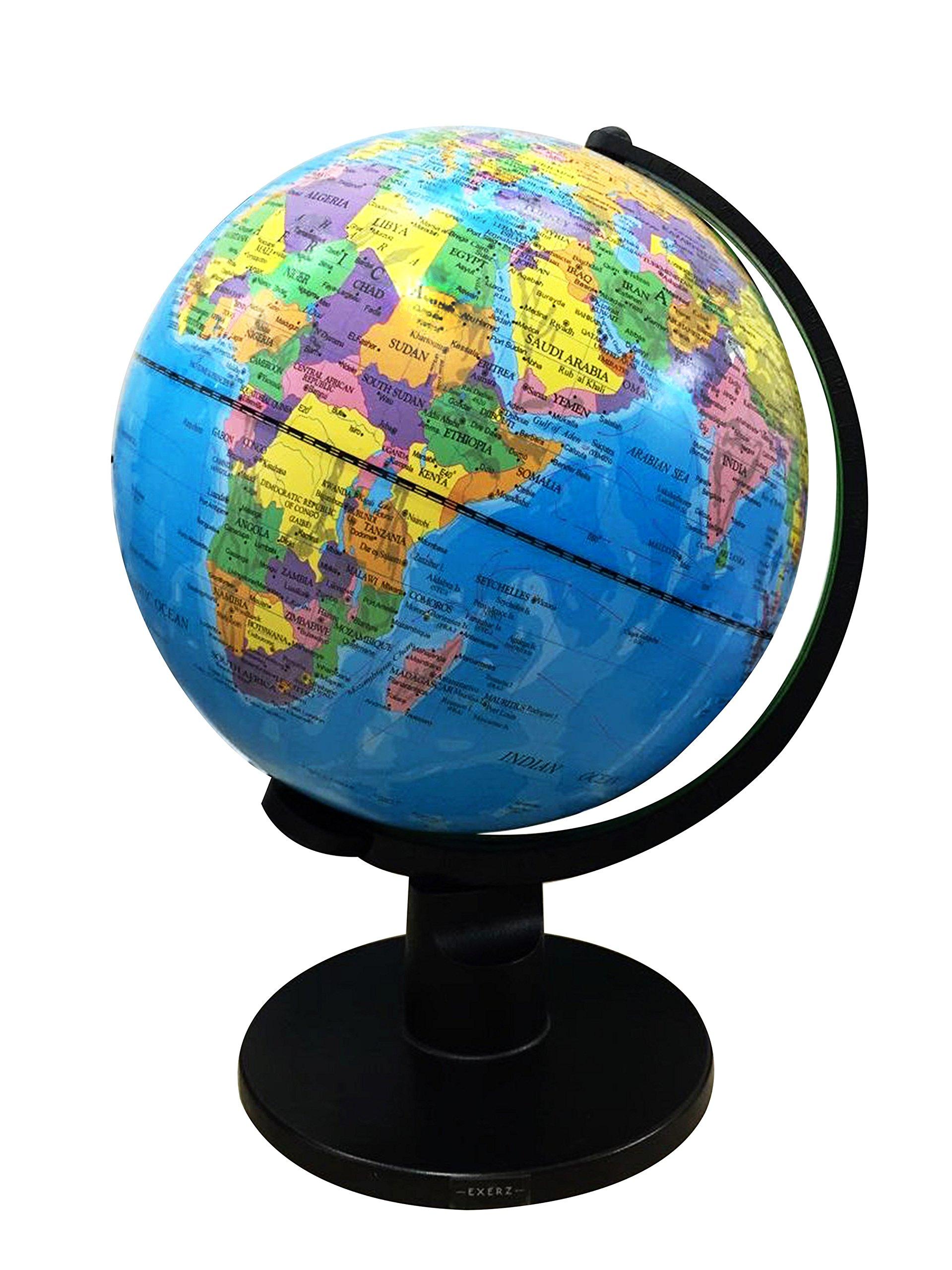 Exerz Educational Swivel Globe (Large Dia 10'' / 25cm) - Political Desktop World Globe