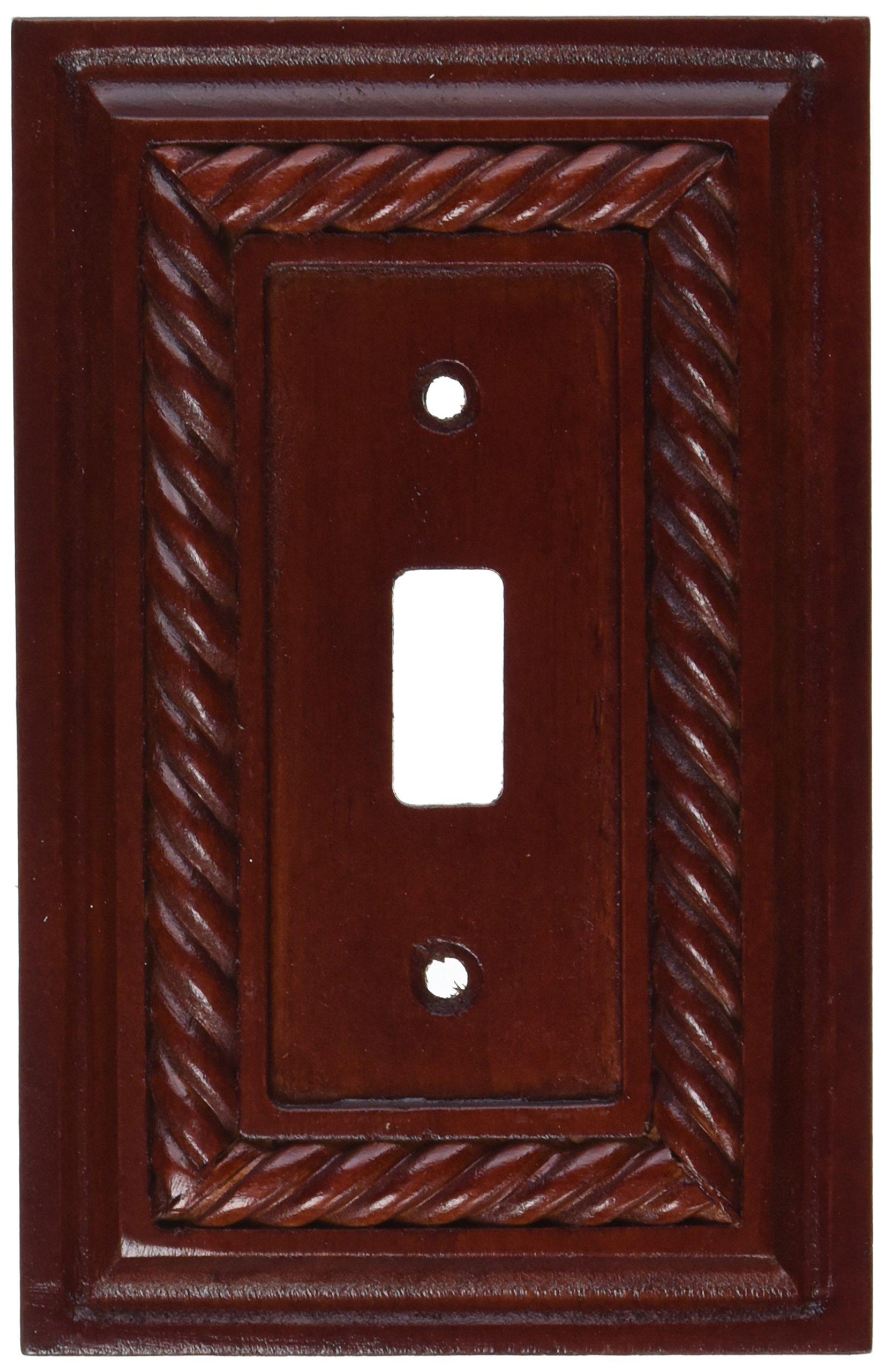 Amerelle 4011TML Toggle Rope Wood Wall Plate, Mahogany Finish