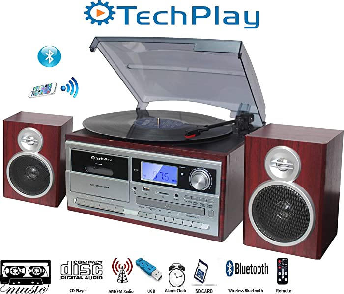 TechPlay ODC128BT 3-Speed Turntable with Cassette Player/Recorder, CD,MP3 SD Card / USB Player, Digital AM / FM Radio, AUX in, Line Out Alarm Clock , Remote and External Speakers (Cherry Wood)