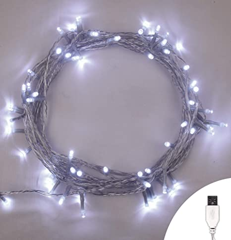 new styles 98c08 8b879 Fairy Lights USB 100 LED Bright White Indoor Christmas String Lights Steady  On/Off USB Powered 10m/32ft Lit Length with 1m/3ft Lead Wire Clear Cable
