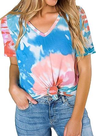 Asalway - Camiseta de manga corta para mujer con cuello en ...