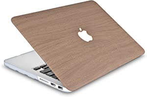 """LuvCaseLaptopCaseforMacBookPro 13"""" (2020 Release) with Touch Bar A2251/A2289 LeatherHardShell Cover (Brown Wood)"""