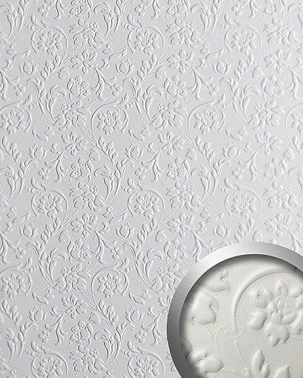 Panel decorativo autoadhesivo polipiel diseño flores WallFace 13473 FLORAL barrocas relieve 3D blanco 2,60