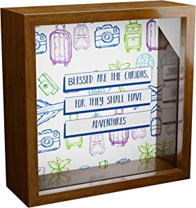Travel Lover Gift | A 6x6x2'' Themed Shadow Box for World Travelers | Vacation Fund Bank for Your Next Trip | Wooden Keepsake Picture Frame for Adventure & Exploration Lovers | Home Travel Decorations