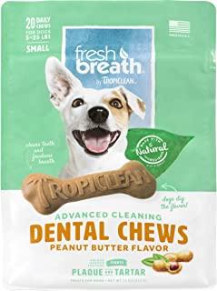 product image for Fresh Breath by TropiClean Dog Dental Care Peanut Butter Flavored Dental Chews for Dogs 5-25 Pounds, 20ct, 11oz - Made in USA - Helps Brush Away Plaque and Tartar