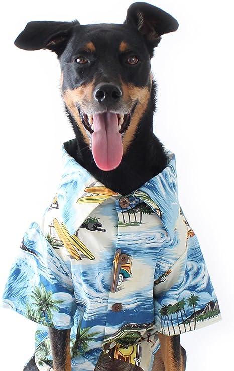Dog Threads Blue Hawaiian Print Longboard BBQ Dog Shirt