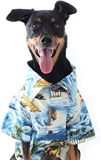 product image for Dog Threads Blue Hawaiian Print Longboard BBQ Dog Shirt