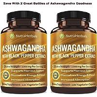 Organic Ashwagandha Root Powder 1200mg - 120 Veggie Capsules - Ashwaganda Supplement – Black Pepper Extract for Increased Absorption