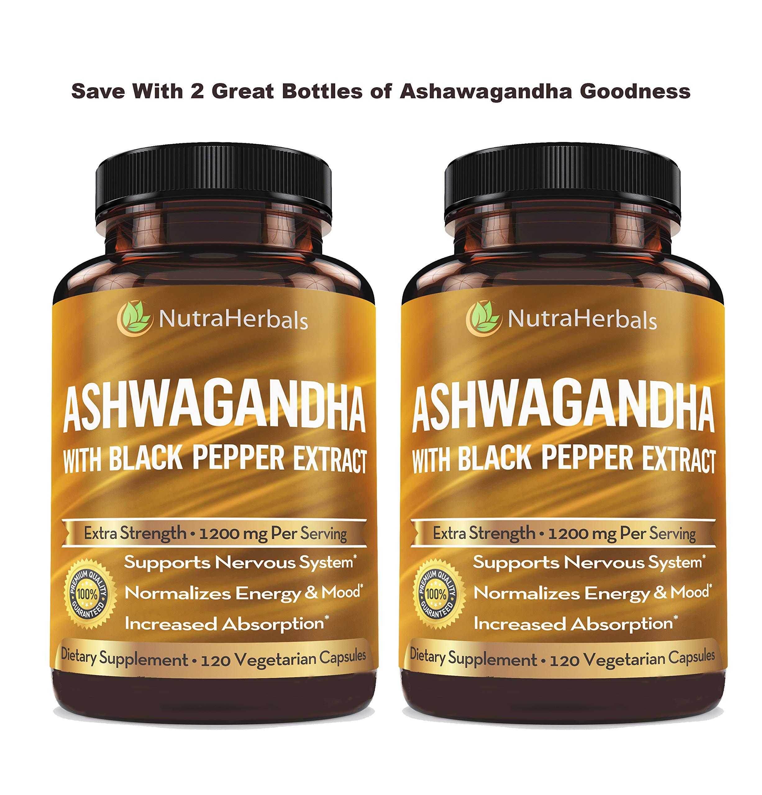 Organic Ashwagandha Root Powder 1200mg - 120 Veggie Capsules - Ashwaganda Supplement - Black Pepper Extract for Increased Absorption by NUTRAHERBALS