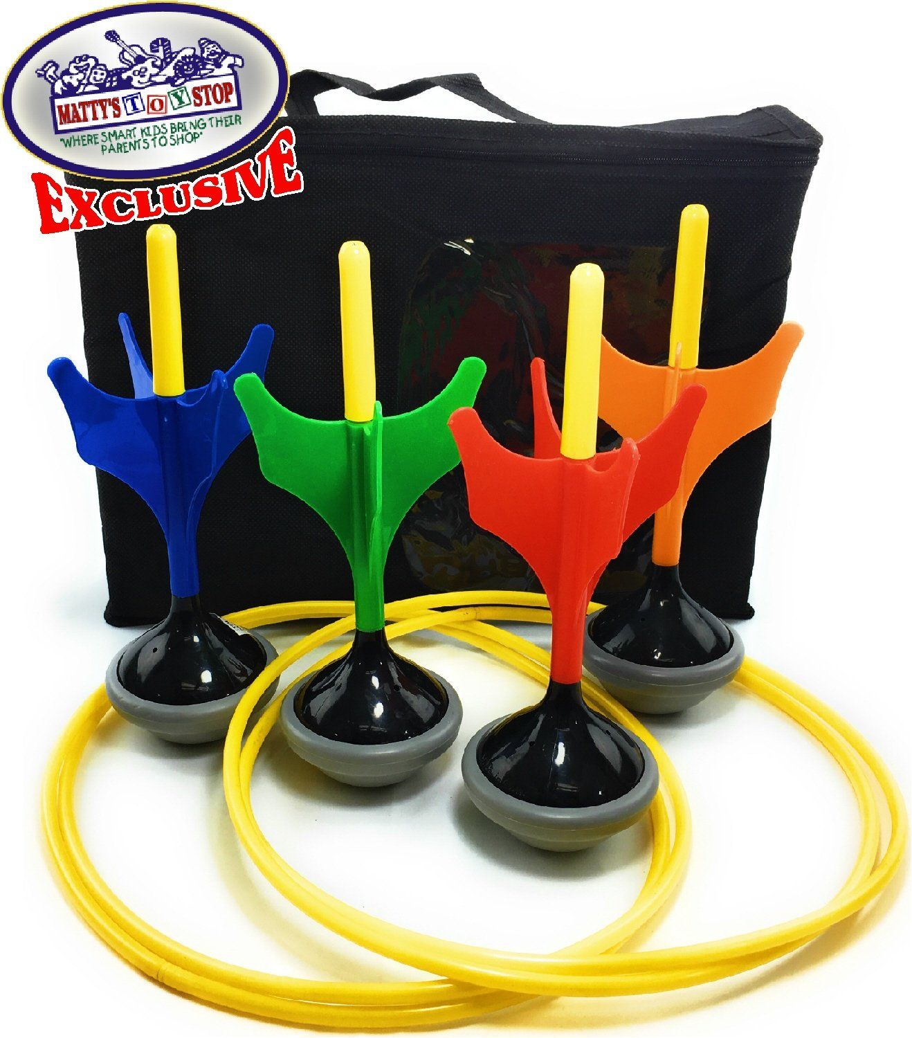 Matty's Toy Stop Deluxe Lawn Darts Set with 4 Lawn Darts, 2 Target Rings & Storage Bag by Matty's Toy Stop