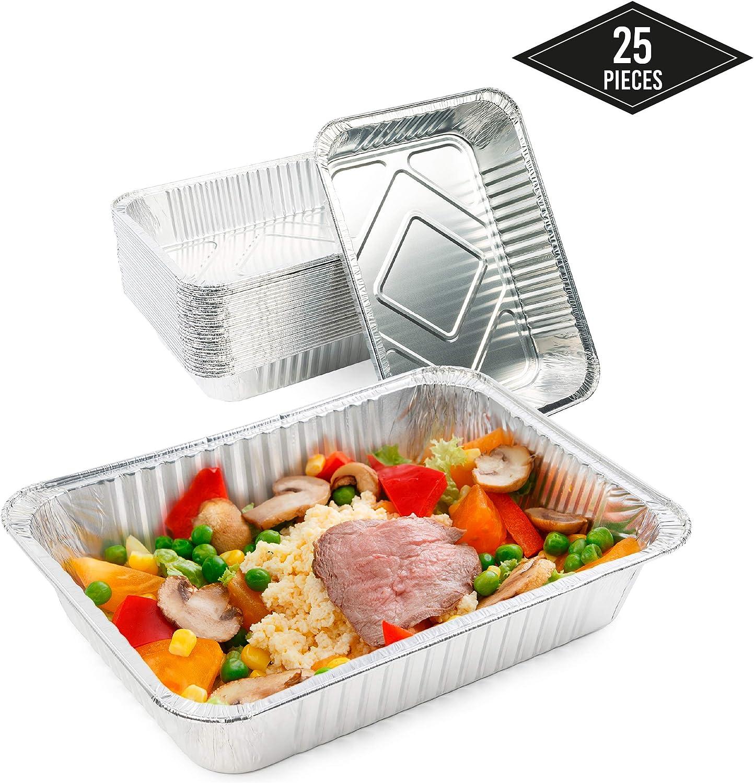 25 Extra Grandes Bandejas de Aluminio Desechables, 37 x 22 cm - Perfecto para Hornear, Asar y Cocinar - Calidad Superior, Seguro de Usar en Horno e Impermeable.