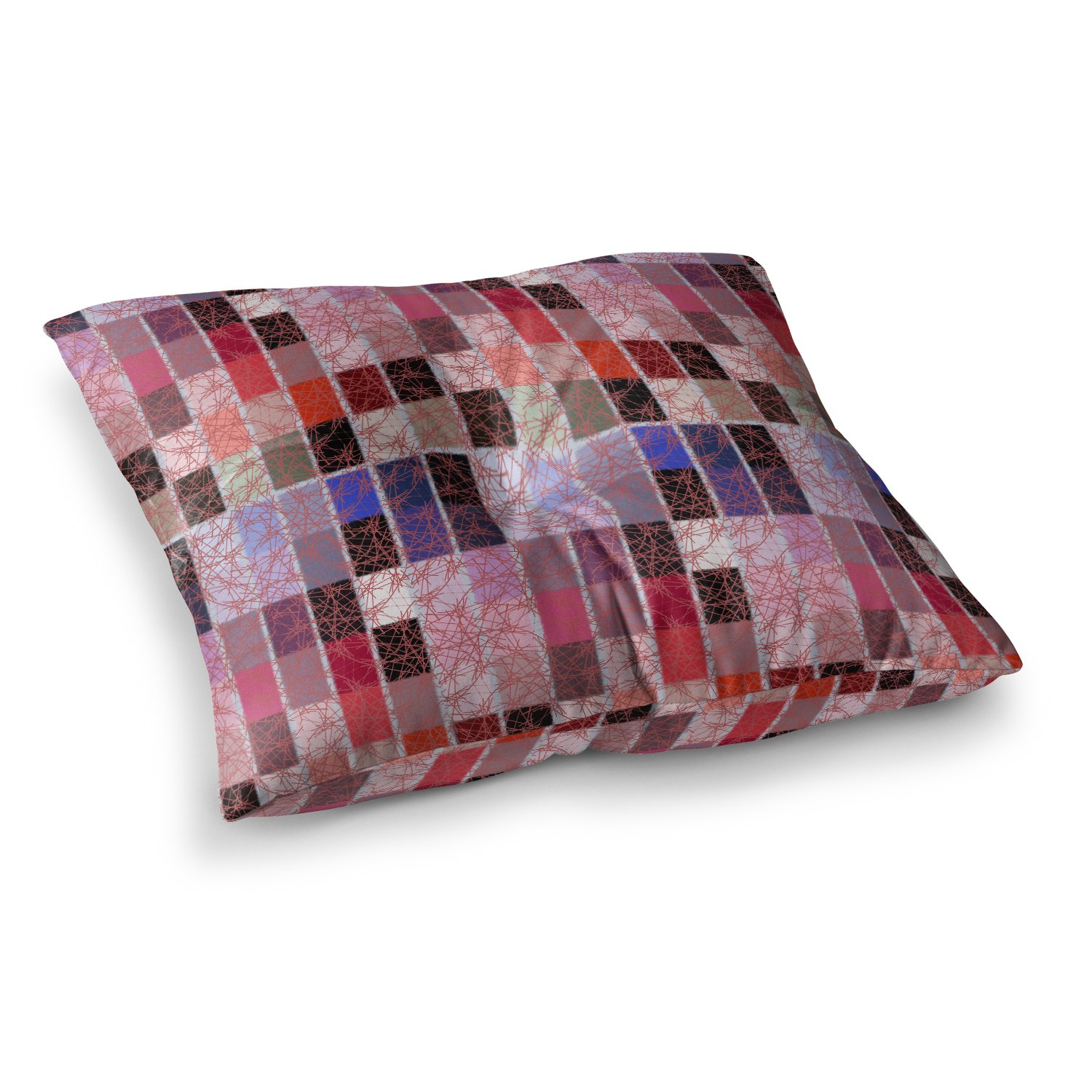 Kess InHouse Laura Nicholson Ruby Tiles Pink Red 23 x 23 Square Floor Pillow