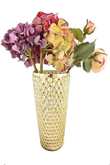 fadce4cfde9 Buy Sammsara Mysore Gold Glass Flower Vase Pots for Artificial Flowers for Home  Decor