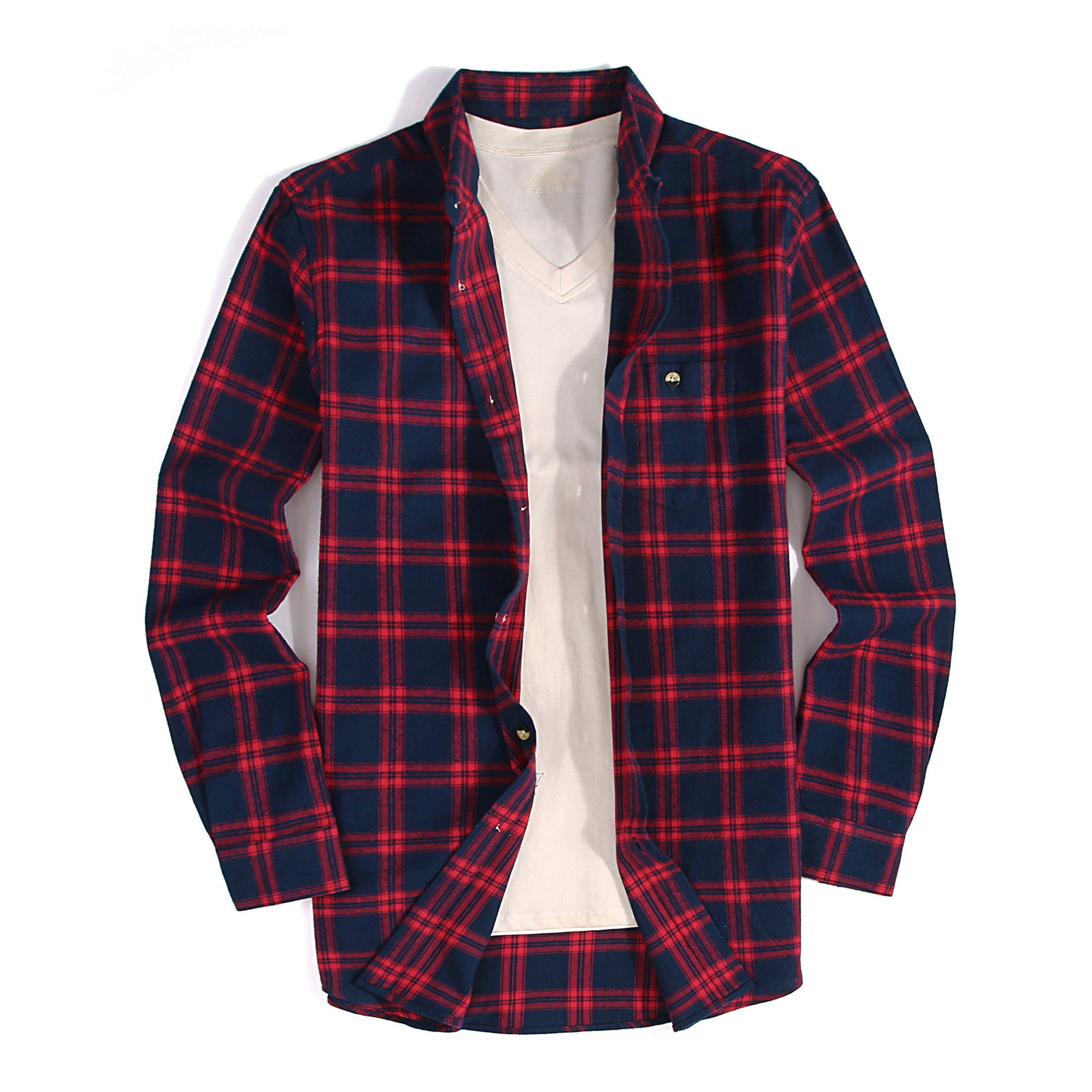 b93fb48dae9 Alex Vando Mens Casual Button Down Shirts Modern Fit Flannel Shirt ...