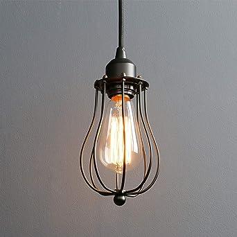 Lightsjoy Suspension Luminaire Industriel Rétro Lustre Plafonnier Vintage Noir Lampe Cage éclairage De Plafond Abat Jour En Métal Pour Restaurant