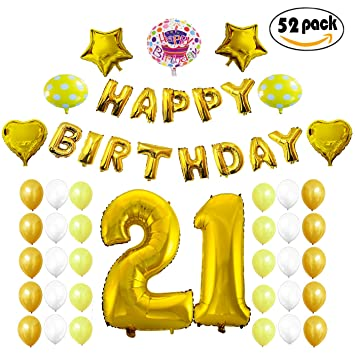 COTIGO - Globos Cumpleaños Happy Birthday #21 Color Dorado, Año 21