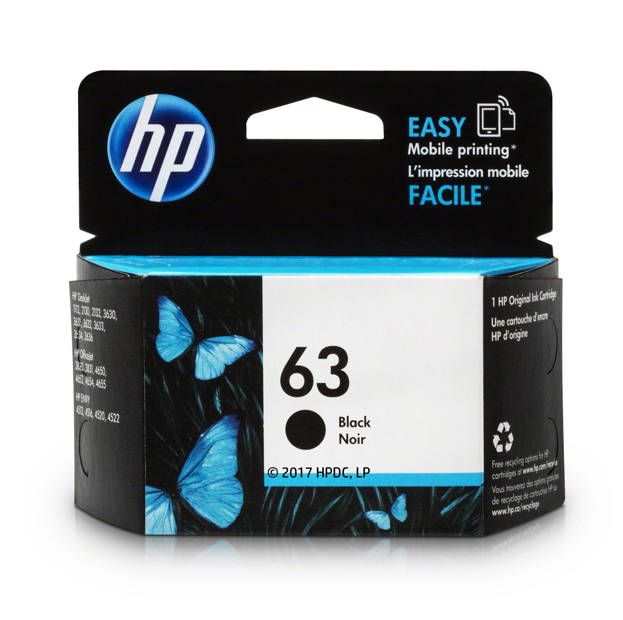 HP 63 Black Original Ink Cartridge (F6U62AN) for HP Deskjet 1112 2130 2132 3630 3632 3633 3634 3636 3637 HP Envy 4512 4513 4520 4523 4524 HP Officejet 3830 3831 3833 4650 4652 4654 4655