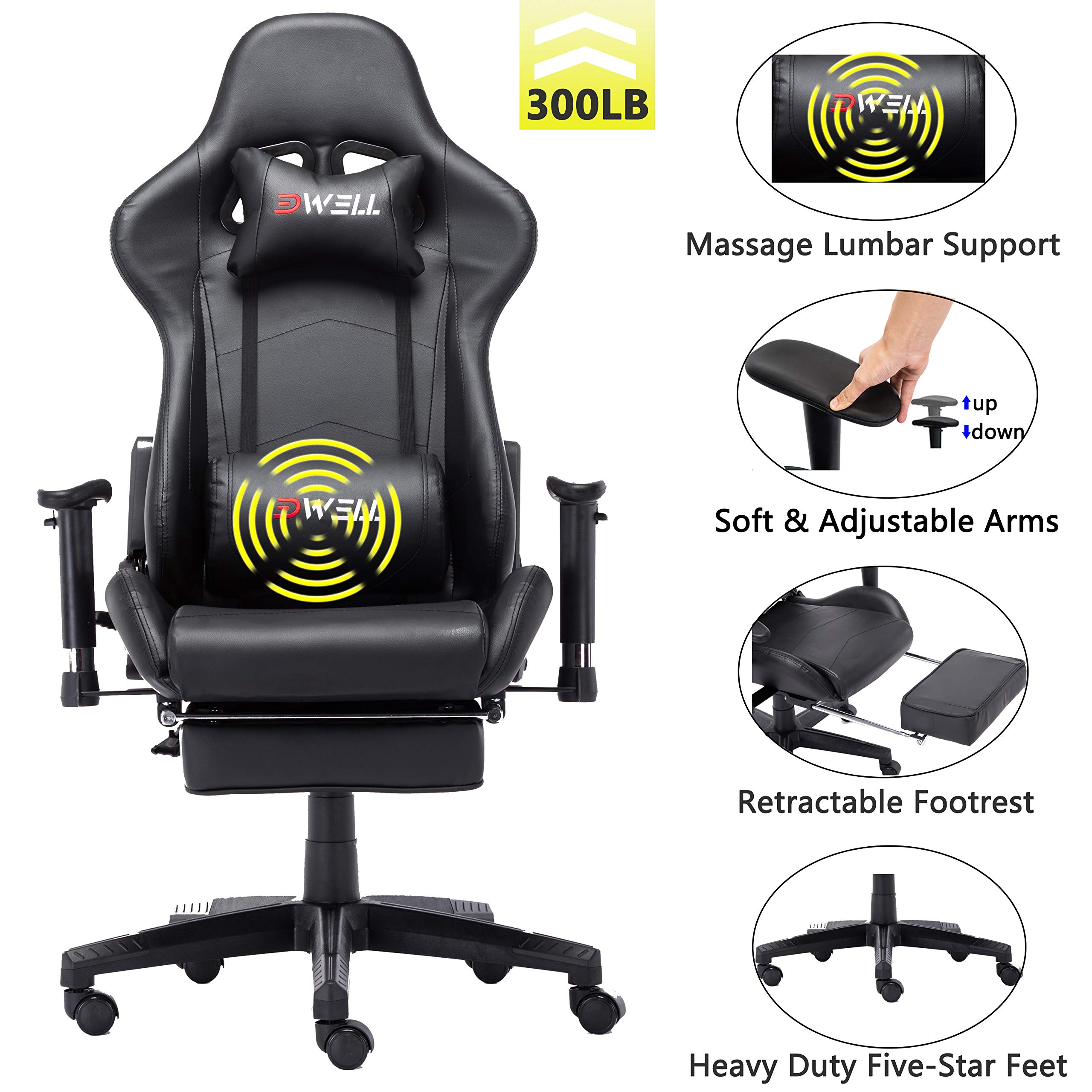 EDWELL Office Chair Gaming Chair with Footrest Computer Chair Desk Chair PU Leather Executive Ergonomic Adjustable Chair with Headrest and Lumbar Support (Black) by EDWELL