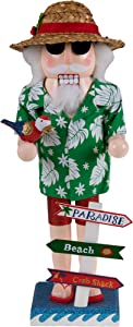 "Clever Creations Traditional Beach Santa Claus Wooden Christmas Nutcracker Festive Holiday Decor | Wearing Hawaiian Shirt & Straw Hat | Holding a Parrot | 100% Wood | 14"" Tall"