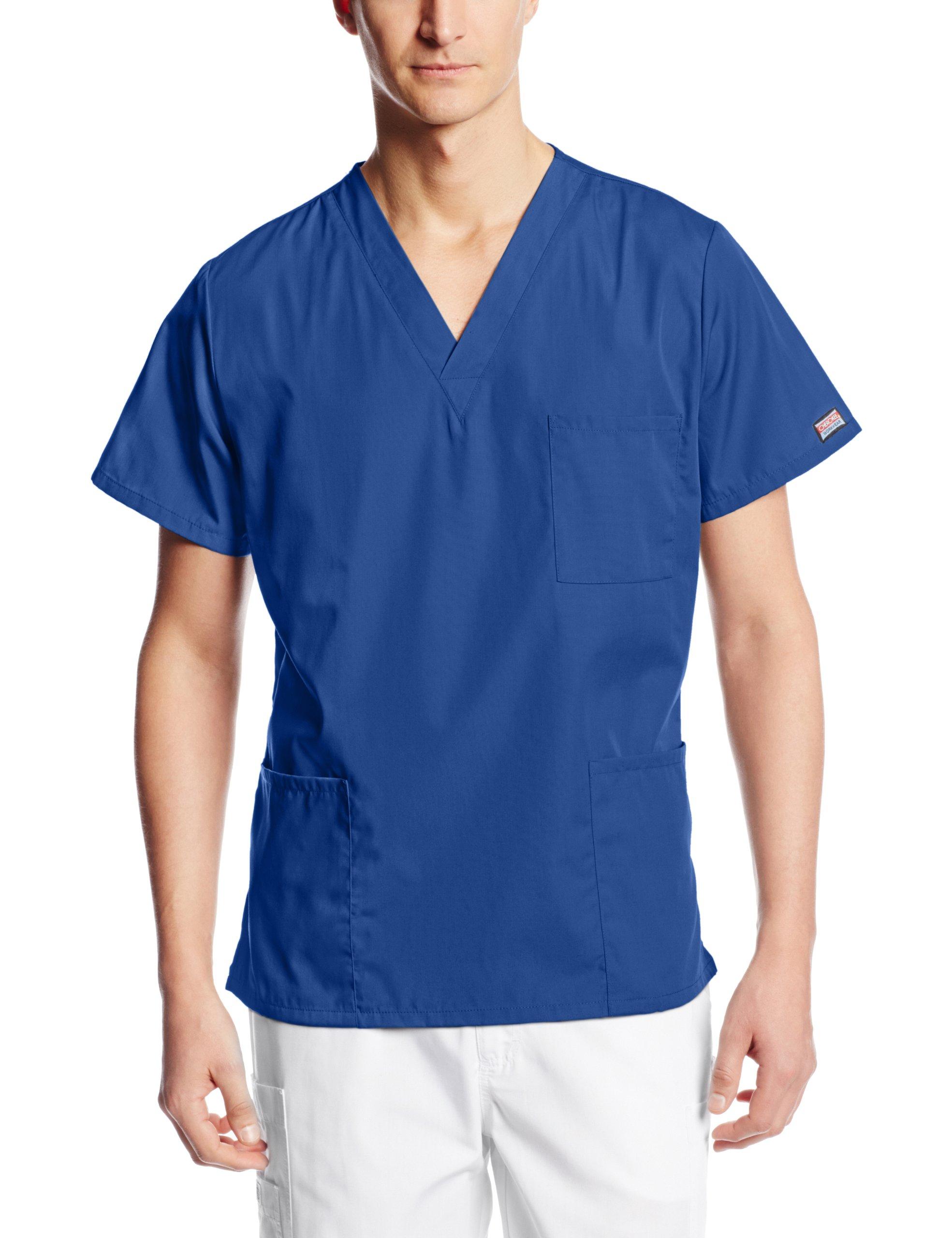 Cherokee Workwear Scrubs Unisex V-Neck Top, Galaxy Blue, Large