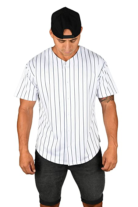 YoungLA Mens Baseball Jersey T-Shirts Plain Button Down Sports Tee 303