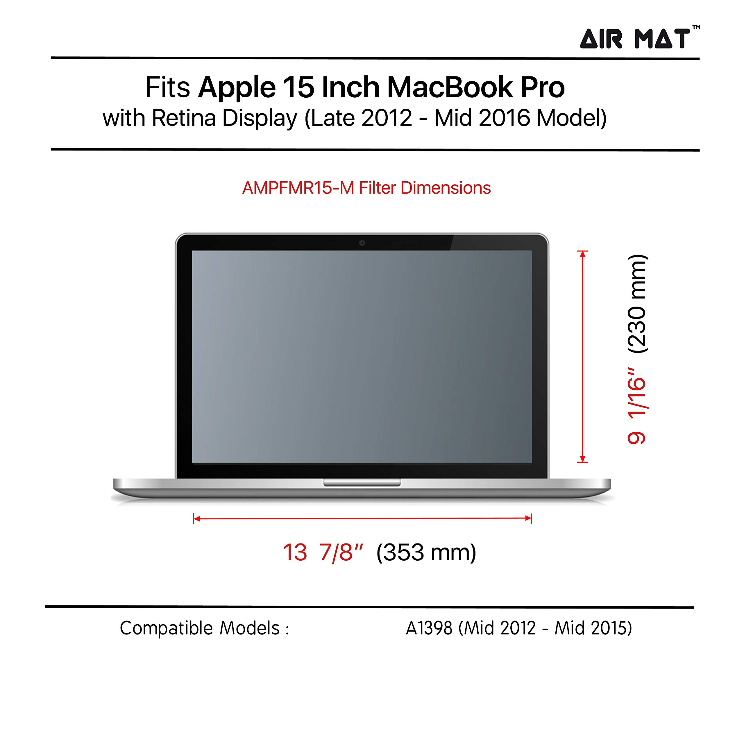 15 Inch MacBook Pro Privacy Filter with Retina Screen Display, best as removable Anti Glare Blue Light Protector Film for data confidentiality - for Apple Model A1398 (MacProR 15'') by Air Mat (Image #4)
