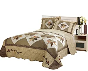 Brandream Queen Size Luxury Patchwork Quilted Bedspread Cotton Quilts Set