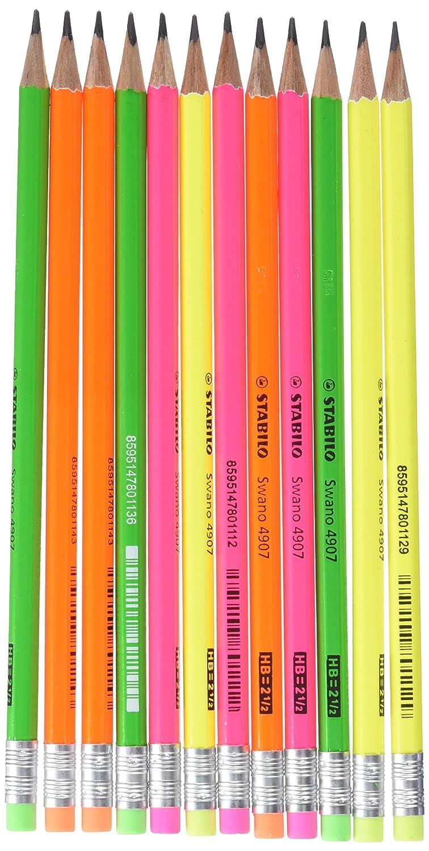 STABILO swano fluo matita in grafite con gommino Giallo/Verde/Arancione/Rosa - Eco Pack da 12 603030