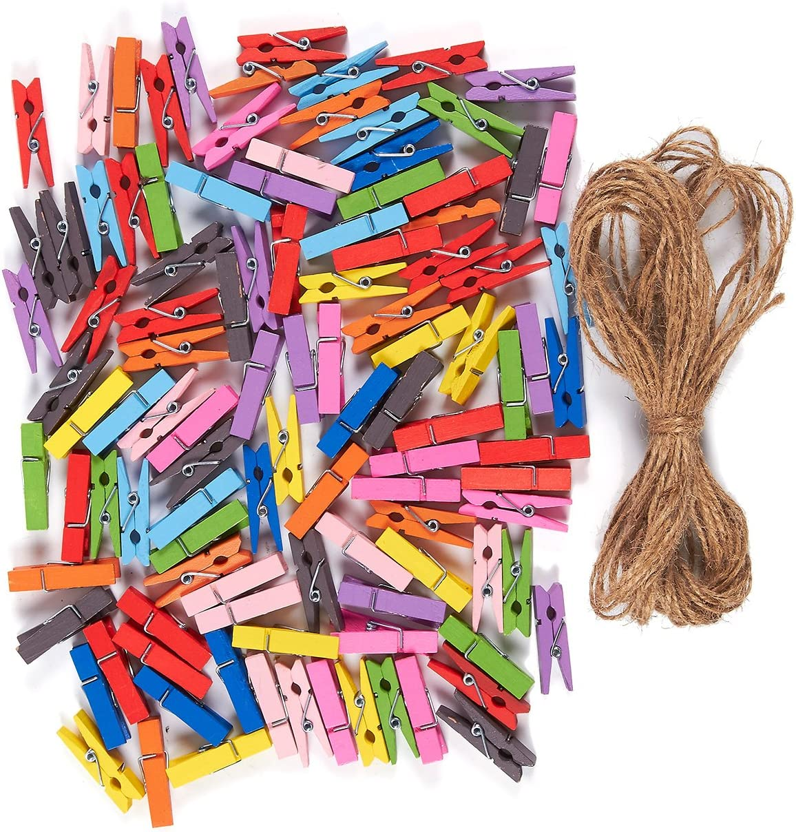 Mini Wooden Clothespins with Jute Twine for Crafts (1.4 in, 100 Pieces)