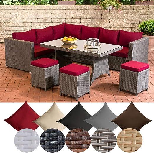 CLP Sorano Muebles de jardín, banco de esquina de mimbre + mesa de comedor de mimbre