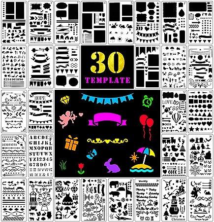 Fansteck Bullet Journal Plantillas de Dibujo, 30 Pack de ...
