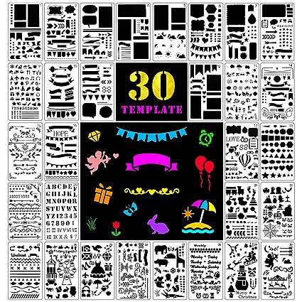 Fansteck Bullet Journal Plantillas de Dibujo, 30 Pack de diferentes formas, DIY Stencial Plantillas