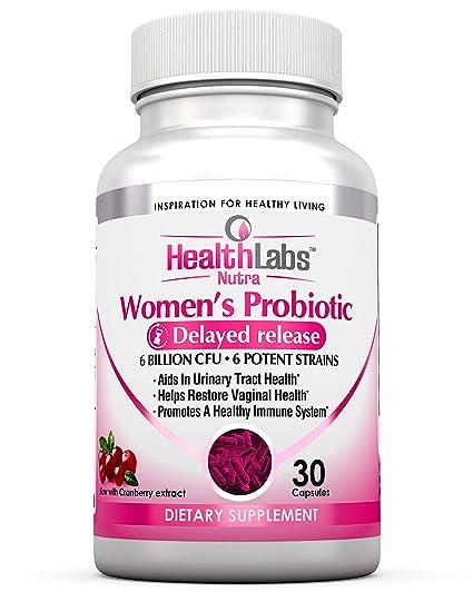 Health Labs Nutra Probiótico para mujeres con arándano y D-manosa - Promueve la salud óptima vaginal, urinaria y digestiva (30 tabletas)