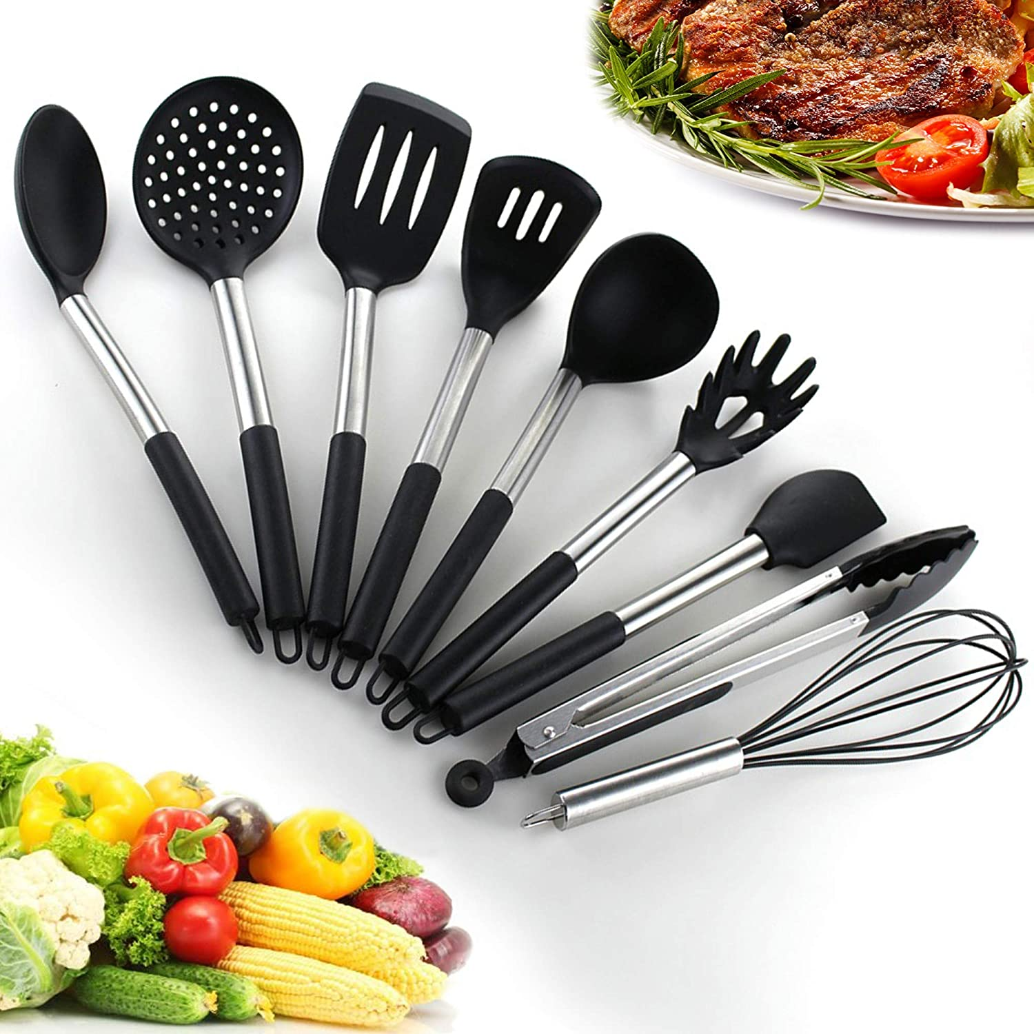 Kitchen Utensil Set – 9 pcs Non-stick Silicone & Stainless Steel Cooking Utensils Heat Resistant tools – Slotted Turner,ladle, Spoon, Pasta Server, Spatula, Potato Masher, Tongs, Skimmer, Whisk by Ethicalz