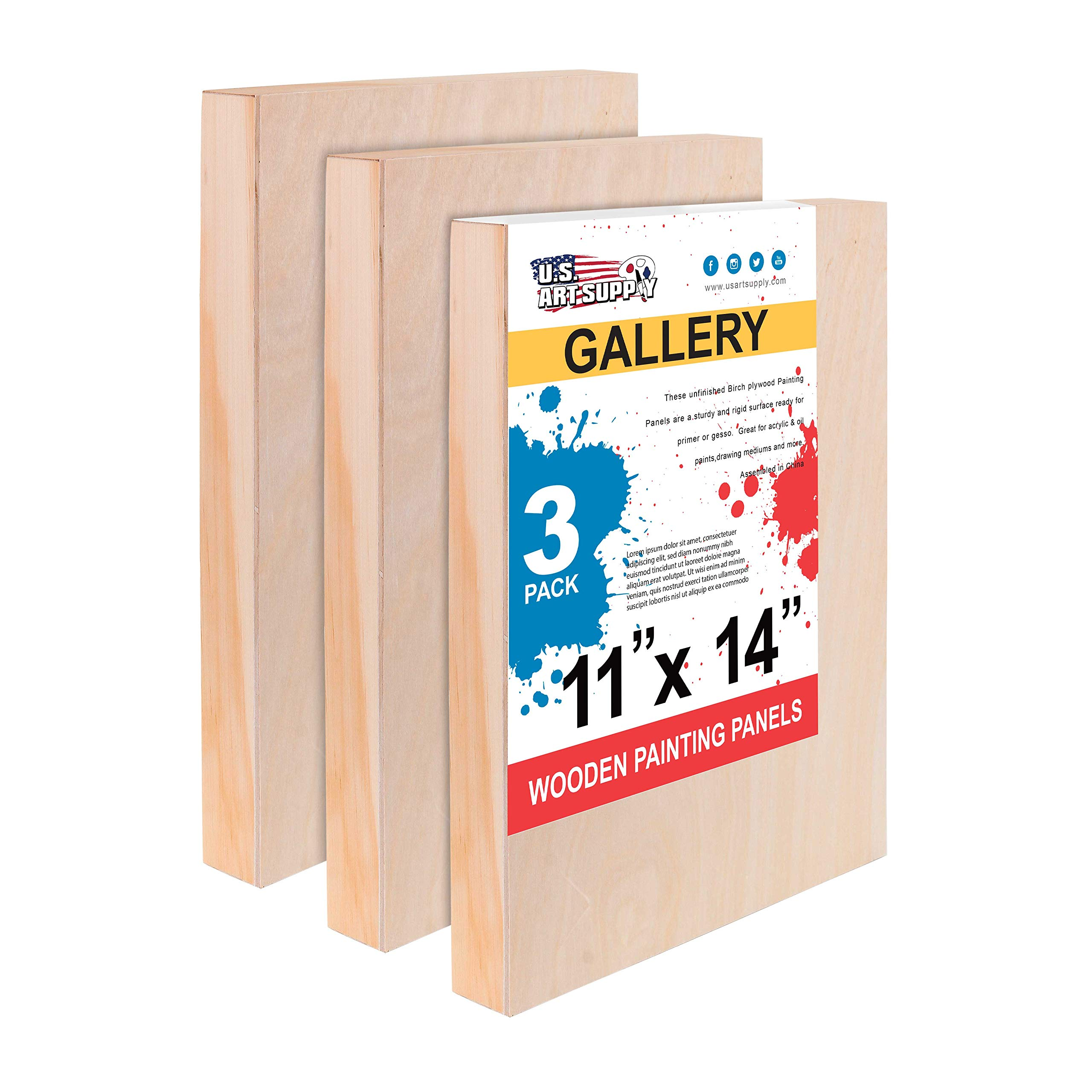 U.S. Art Supply 11'' x 14'' Birch Wood Paint Pouring Panel Boards, Gallery 1-1/2'' Deep Cradle (Pack of 3) - Artist Depth Wooden Wall Canvases - Painting Mixed-Media Craft, Acrylic, Oil, Encaustic by U.S. Art Supply