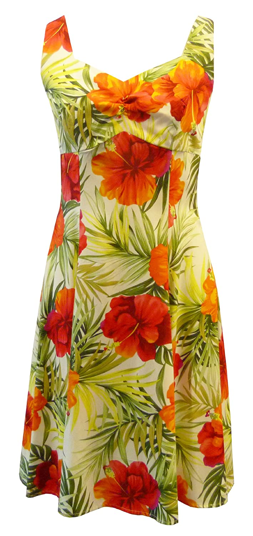 53f1f8fd5eb Two Palms Women s Big Hibiscus Empire Princess Flare Dress at Amazon Women s  Clothing store