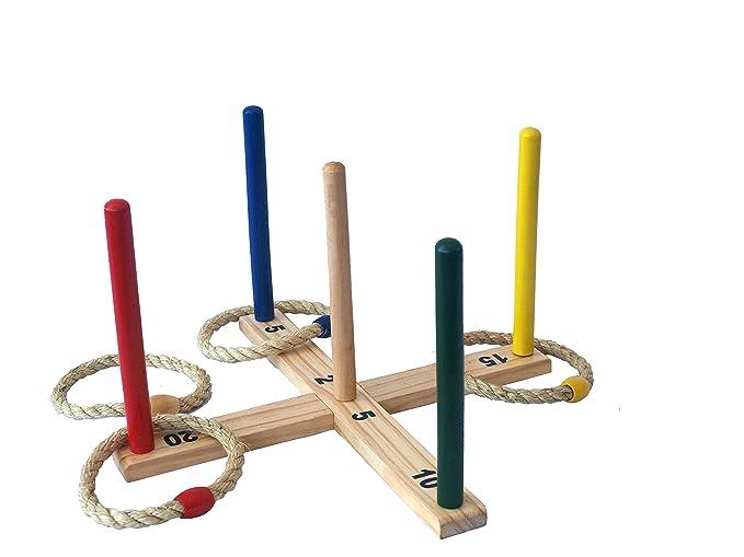 55 x 55 x 10 cm Holz Ringwurfspiel ca Spielzeug für draußen