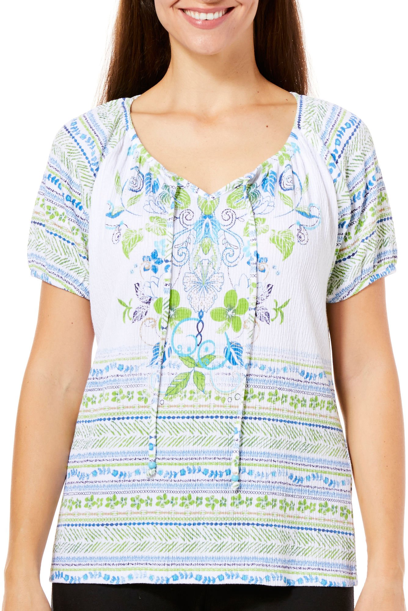 Coral Bay Petite Gauze Mixed Floral Print Peasant Top X-Large Petite Green/blue/white