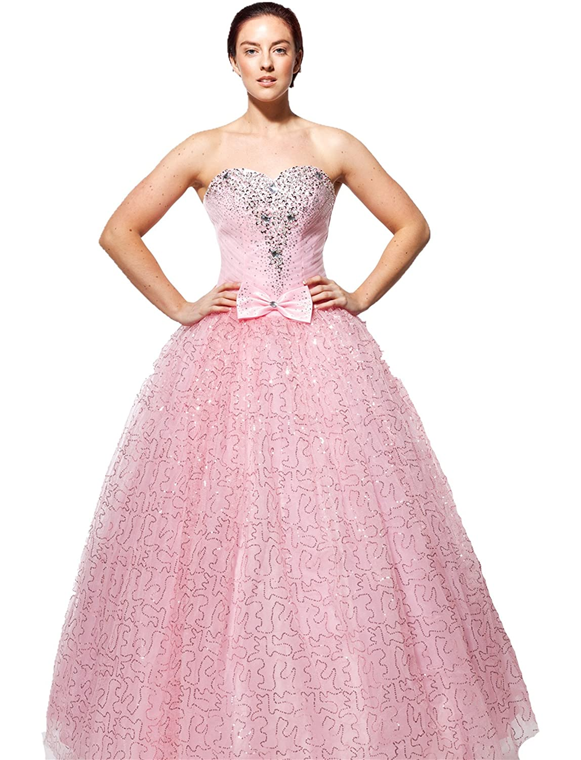 atopdress Wt09 BALL evening prom sequined gown evening dress size 8-20 (6, Pink): Amazon.co.uk: Clothing