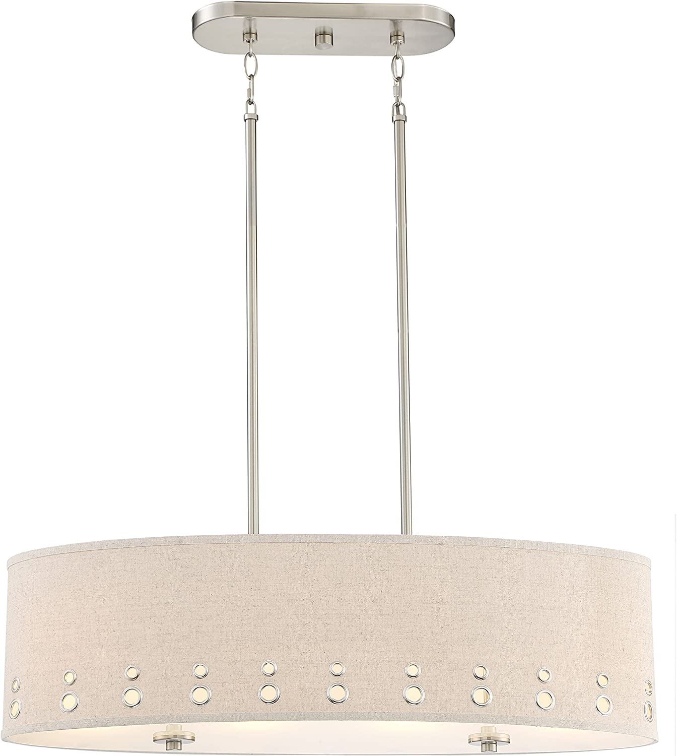 Quoizel LWS3233B1 Park Avenue Beige Linen Drum Pendant Ceiling Lighting, 4-Light, 400 Watts, Brushed Nickel 11 H x 33 W