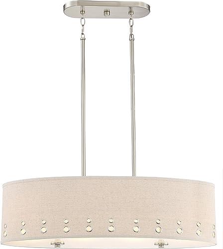 Quoizel LWS3233B1 Park Avenue Beige Linen Drum Pendant Ceiling Lighting, 4-Light, 400 Watts, Brushed Nickel 11 H x 33 W