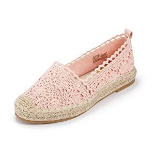 Espadrille Sneakers for Women: Hollow Canvas Casual Flats Classic Slip-On Comfortable Shoes (7.5 B(M) US (24CM), Pink)